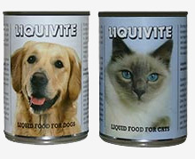 Liquivite cat and dog food cans